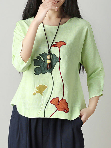 Appliqued Casual Crew Neck 3/4 Sleeve LinenT-Shirt