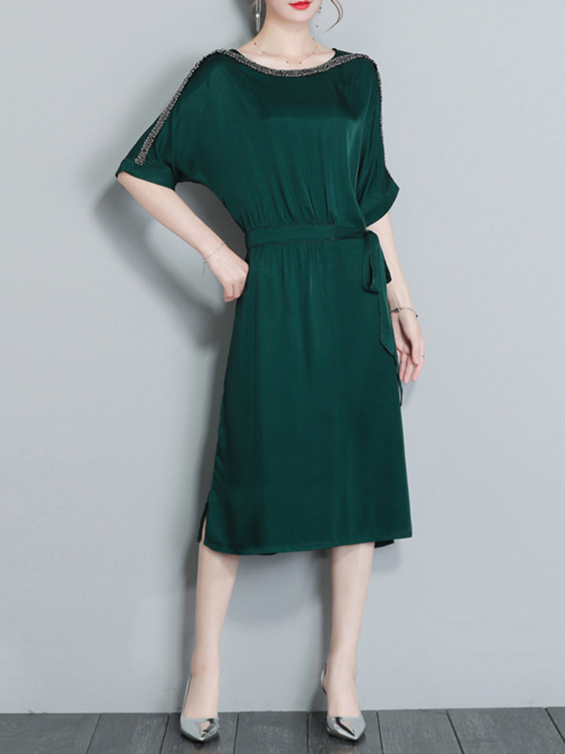 Dark Green Elegant Half Sleeve A-line Plus Size Dress with Belts