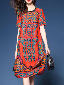 Multicolor Crew Neck Short Sleeve Printed Dress