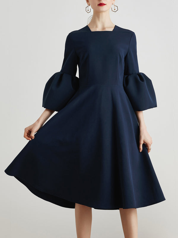 Elegant Bell Sleeves Square-Neck Fit-and-Flare Midi Dress
