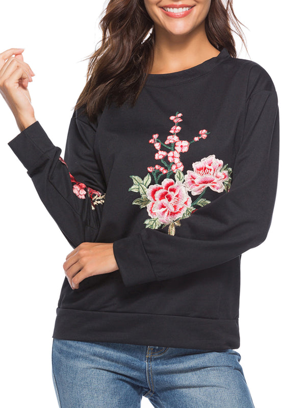 Black Embroidered Crew Neck Casual Sweatshirt