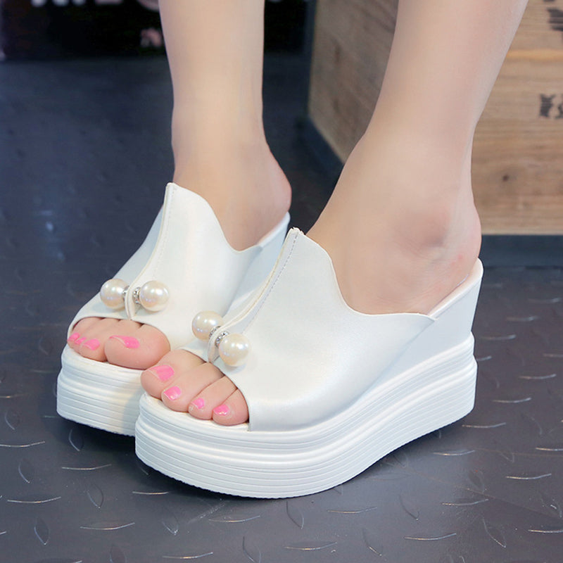 PU Faux Pearl Casual Wedge Heel Slippers