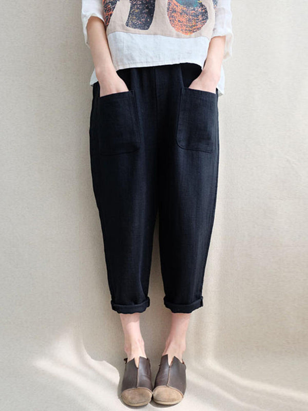 Black Solid Casual Shift Pockets Pants