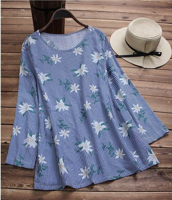 Shift Plus Size Casual Printed Blouse