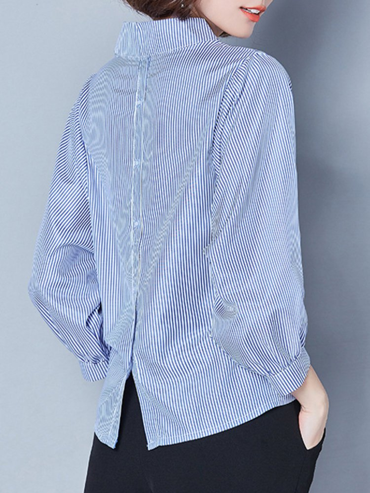 Stand Collar High Low Casual Long Sleeve Blouse