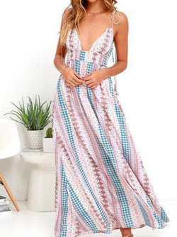 Stylish Floral Print Vacation Maxi Dress