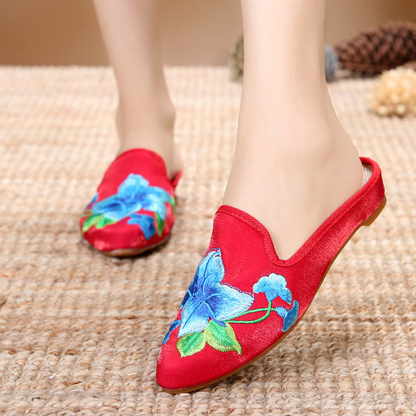 Women Floral Embroidered Casual Comfort Elegant Slippers