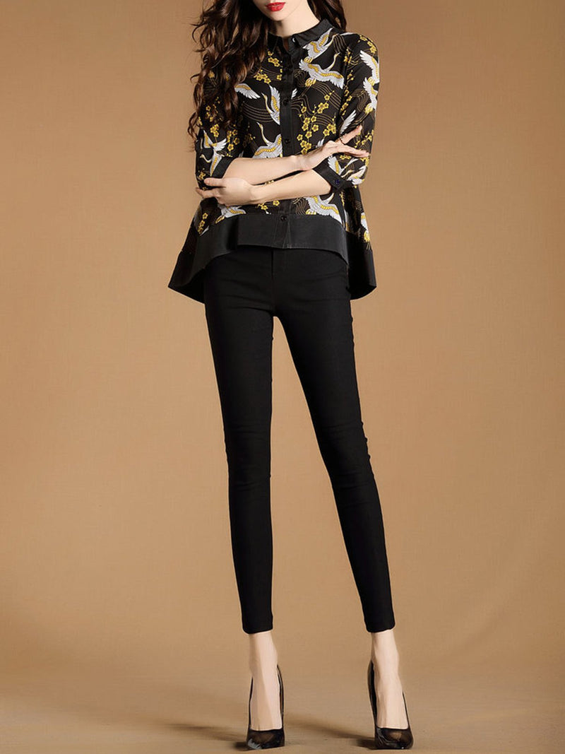 3/4 Sleeve High Low Printed Blouse