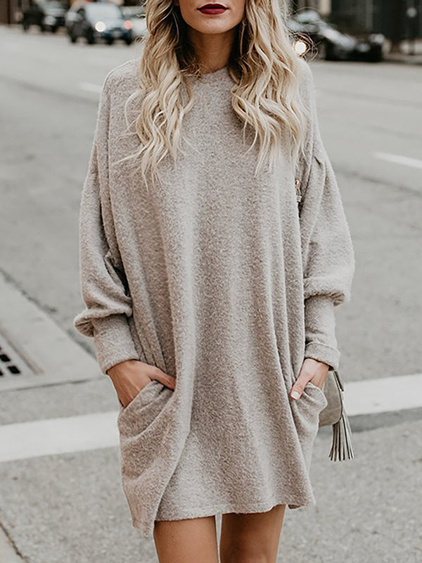 Solid Long Sleeve Crew Neck Sweater