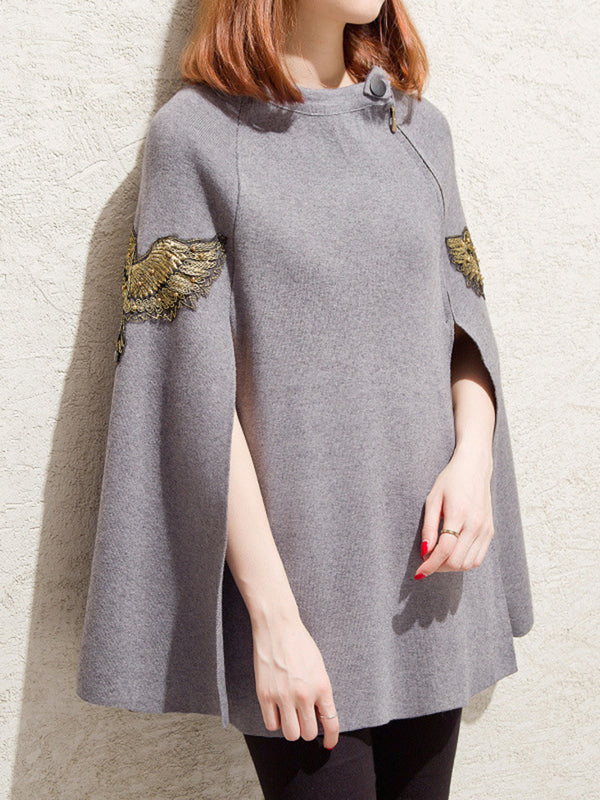 Cape Sleeve Knitted Embroidered Casual Sweater