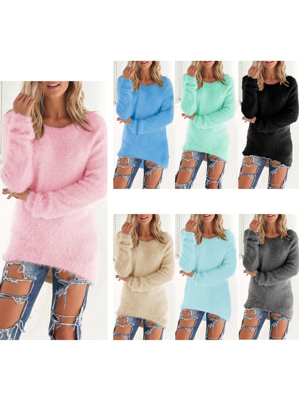 Paneled Crew Neck Casual Sweater