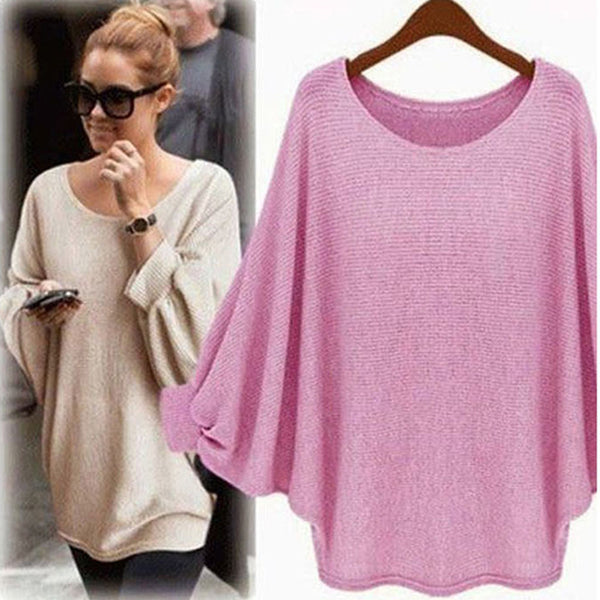 Pink Casual Acrylic Crew Neck Sweater