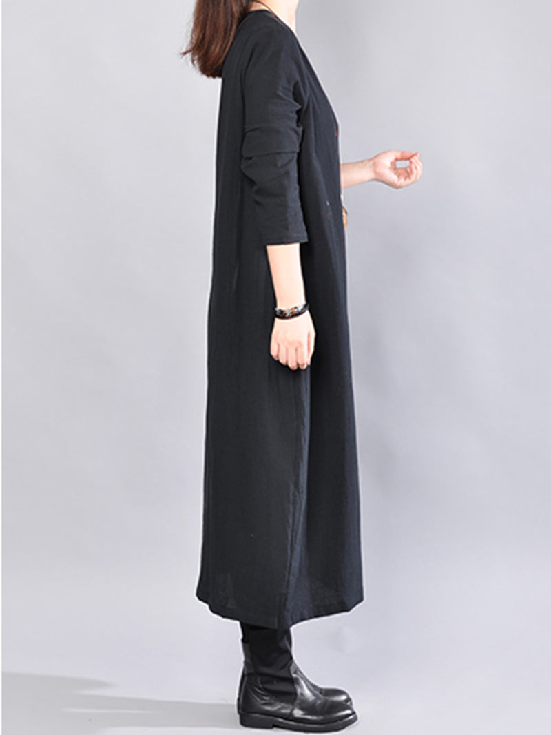 Crew Neck Long Sleeve H-line Casual Dress