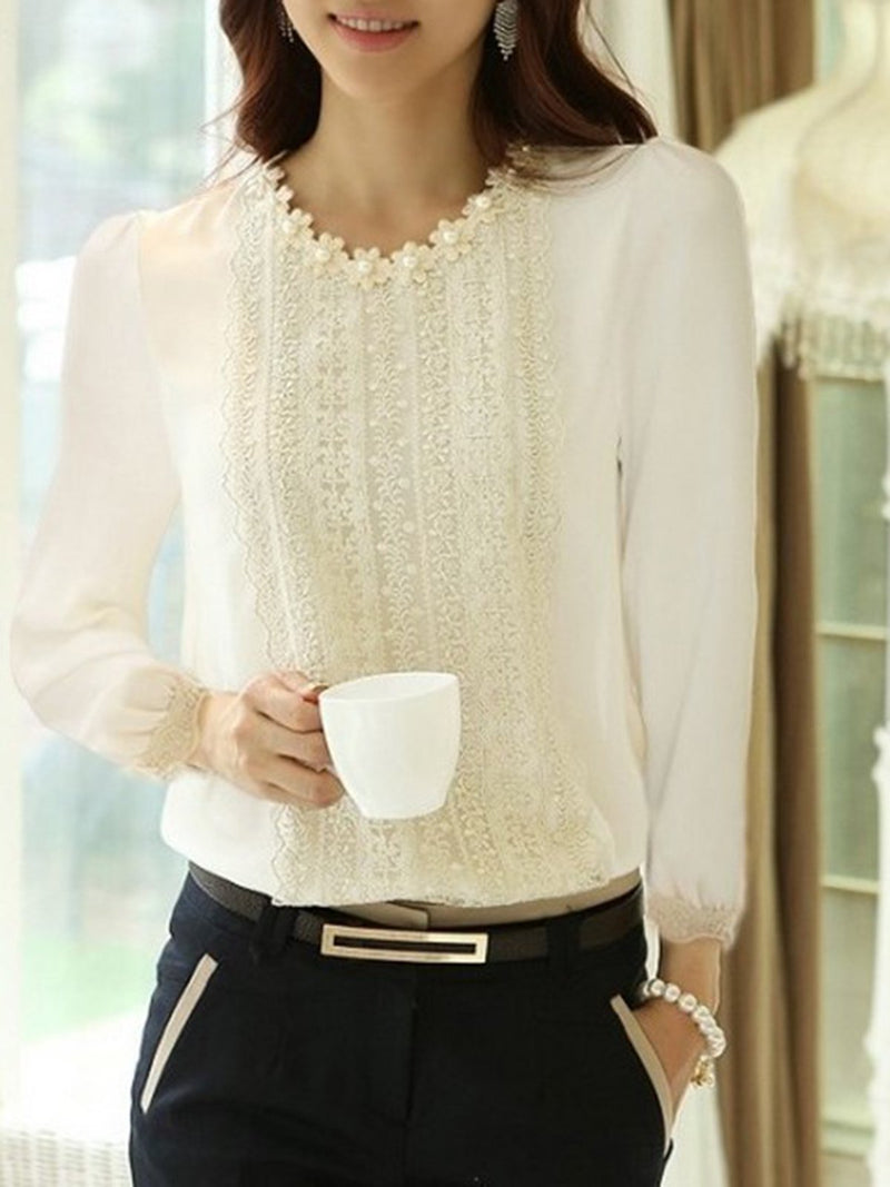 Long Sleeve Casual Solid Beaded Plus Size Blouse
