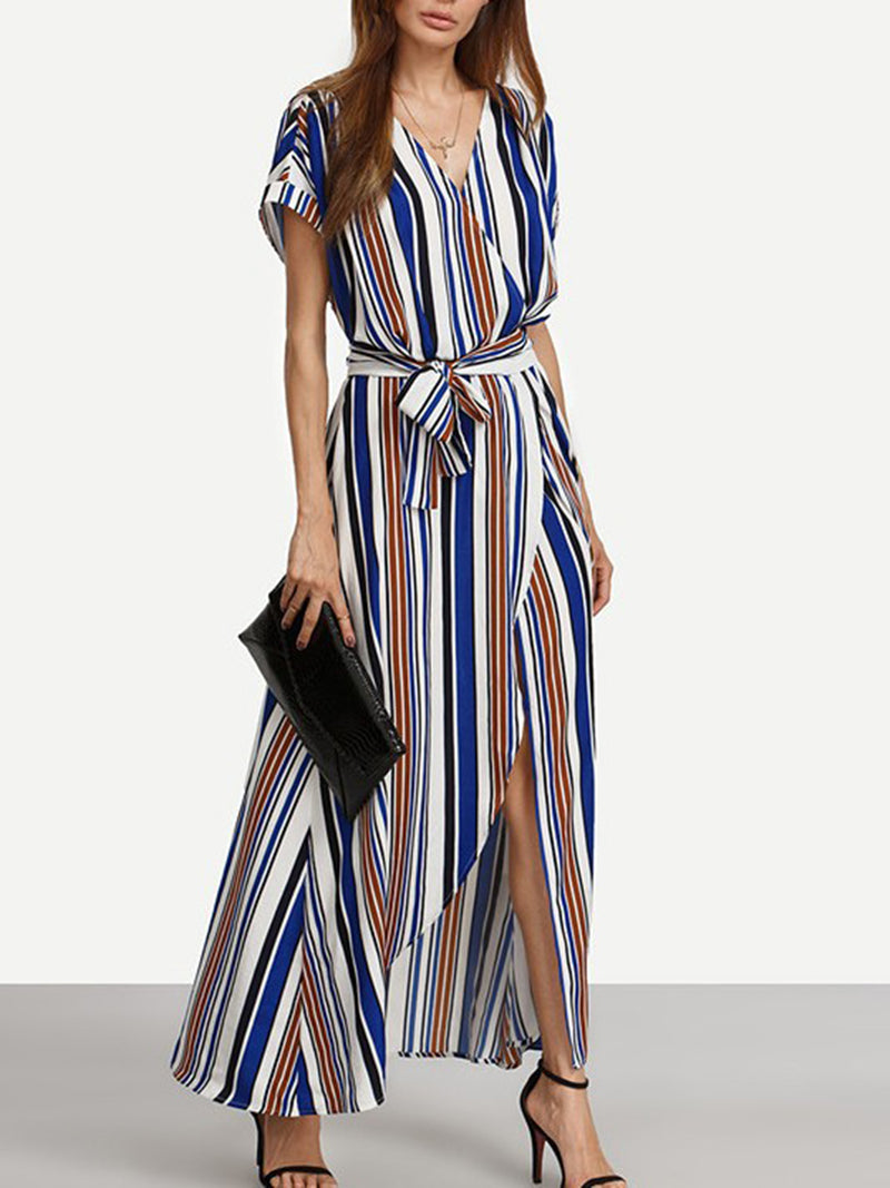 Stripe-blue V-Neck Short Sleeve Polyester Maxi Dress