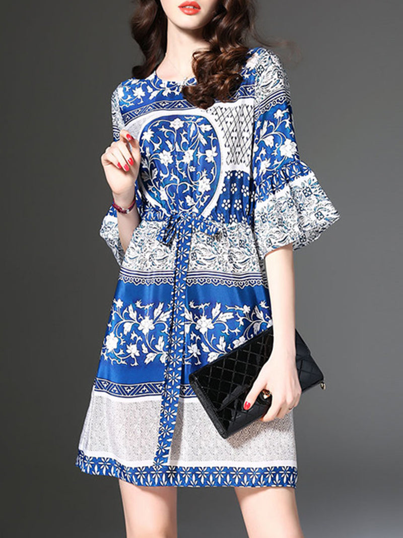 Bell Sleeve Vintage Style Printed Crew Neck Dress