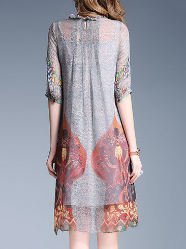 Gray Printed Stand Collar Elegant 3/4 Sleeve Dress