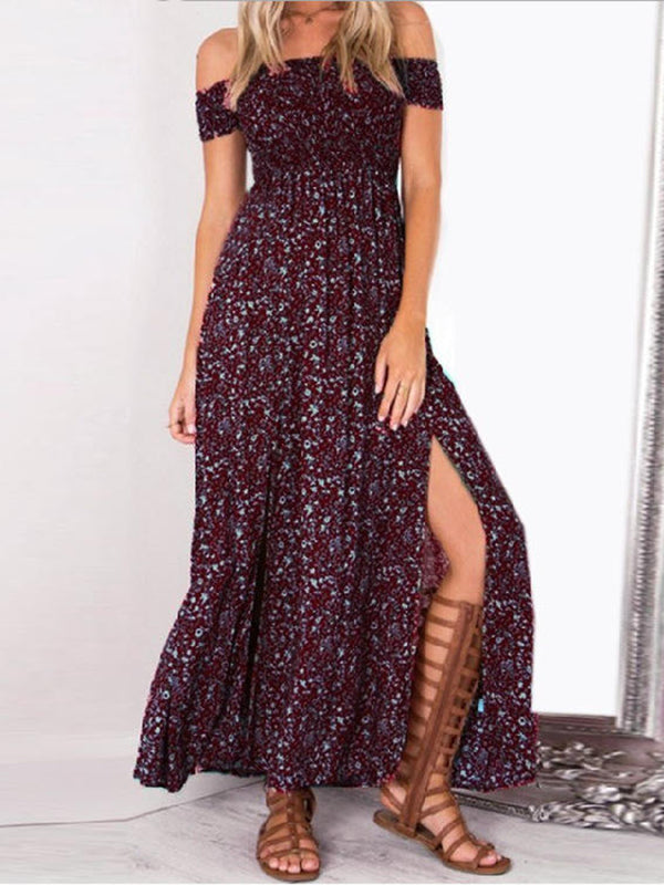 Floral Printed Off ShoulderCasual Slit Maxi Dress