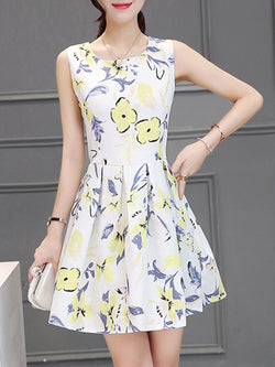 Floral Sleeveless Printed A-line Plus Size Party Dress