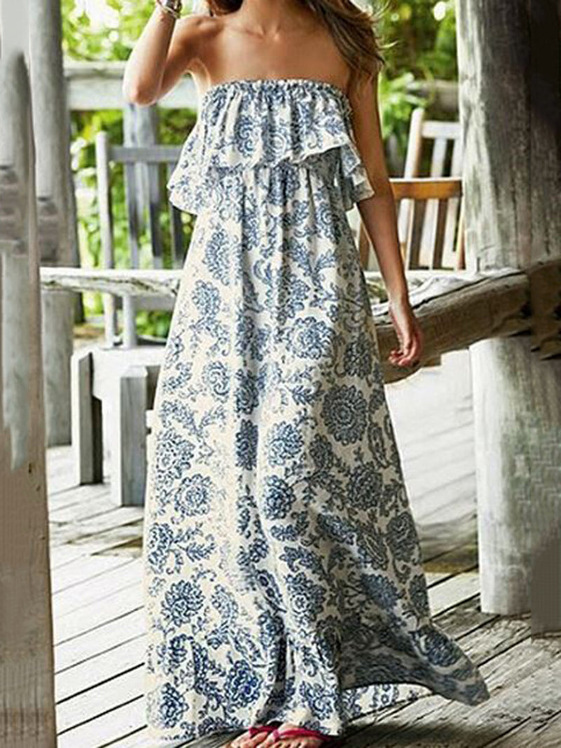 Floral Strapless Resort A-line Dress