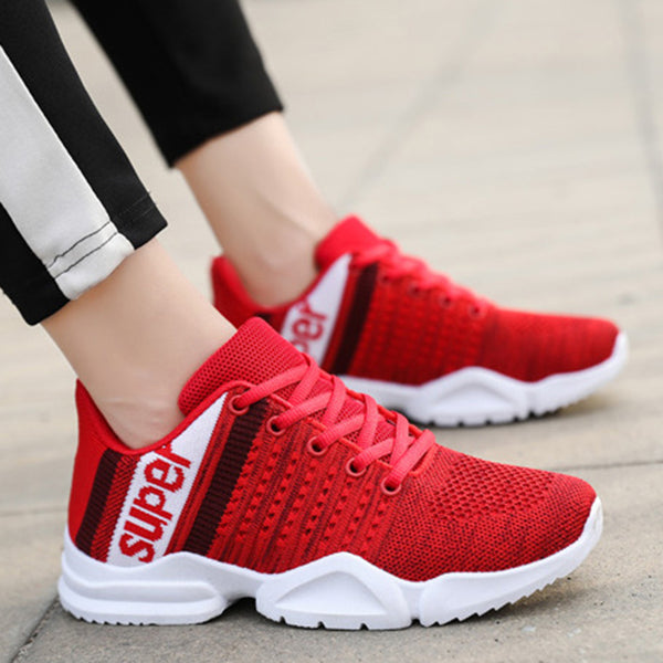 Women Flyknit Fabric Casual Comfort Lace Up Sneakers