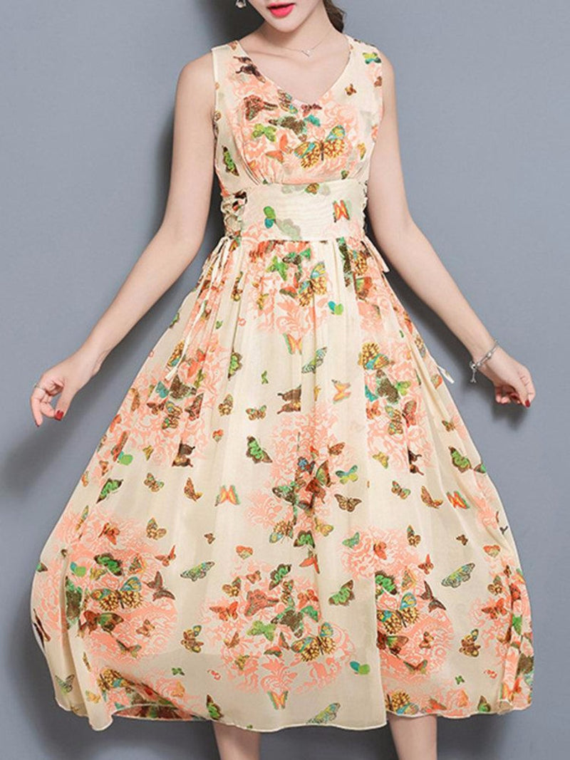 Apricot Swing V-Neck Floral Printed Casual Dress