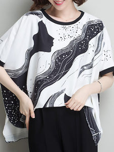 Black Casual Crew Neck Abstract Printed Blouse
