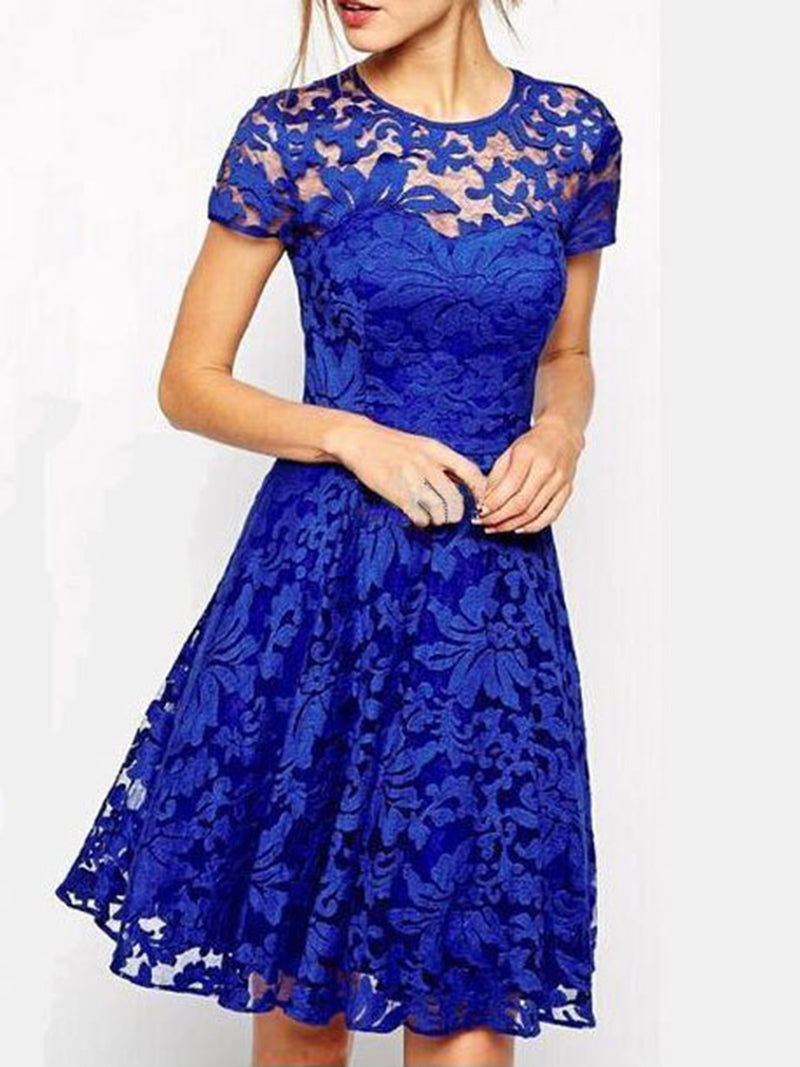 Plus Size Elegant Lace Short Sleeve Gathered Party Dress