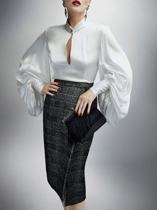 White Balloon Sleeve Keyhole Work Blouse