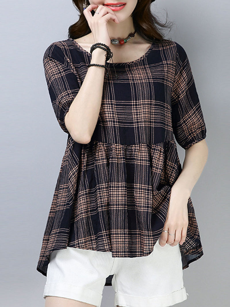Casual Checkered/Plaid Short Sleeve Blouses