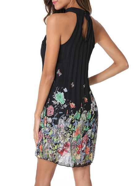 Black Casual  Pleated Floral A-line Halter Midi Dress