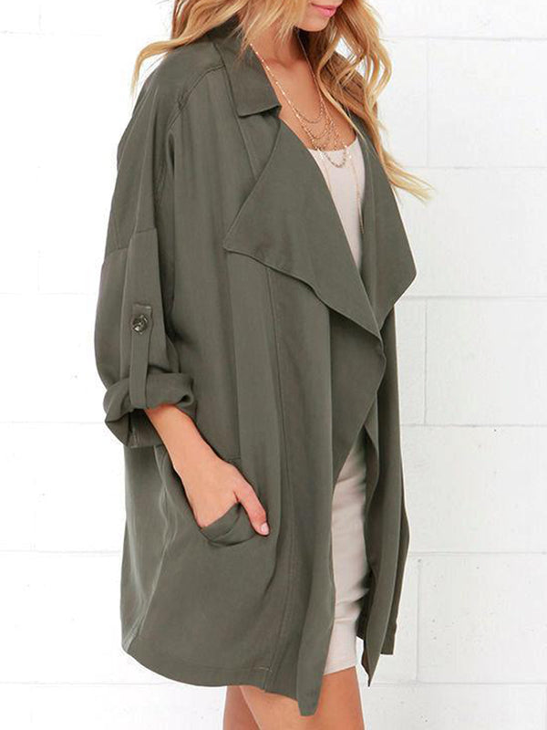 Buttoned  Pockets Casual Solid Windbreaker Coat