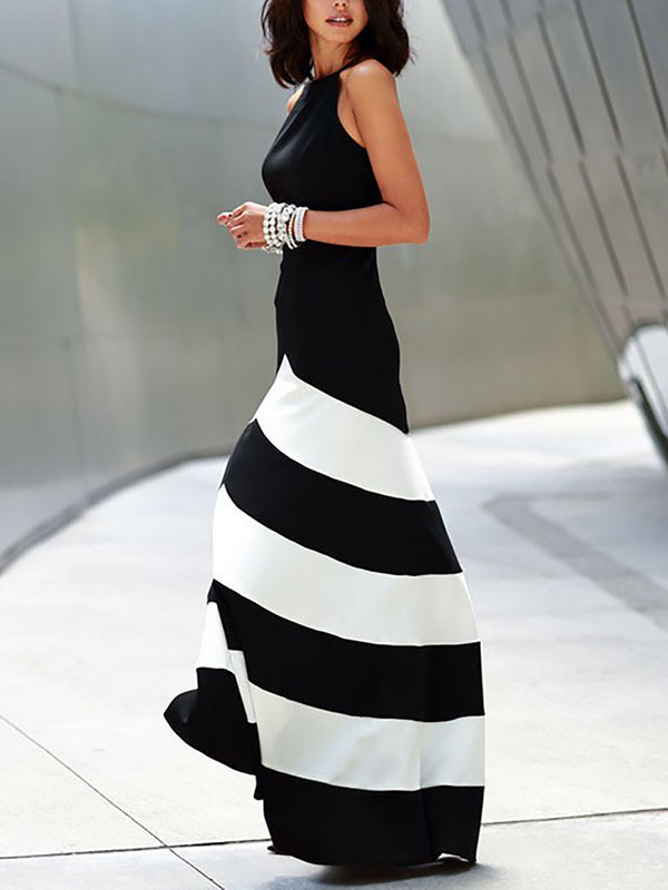 Halter Black A-line Sleeveless Color-block Maxi Dress