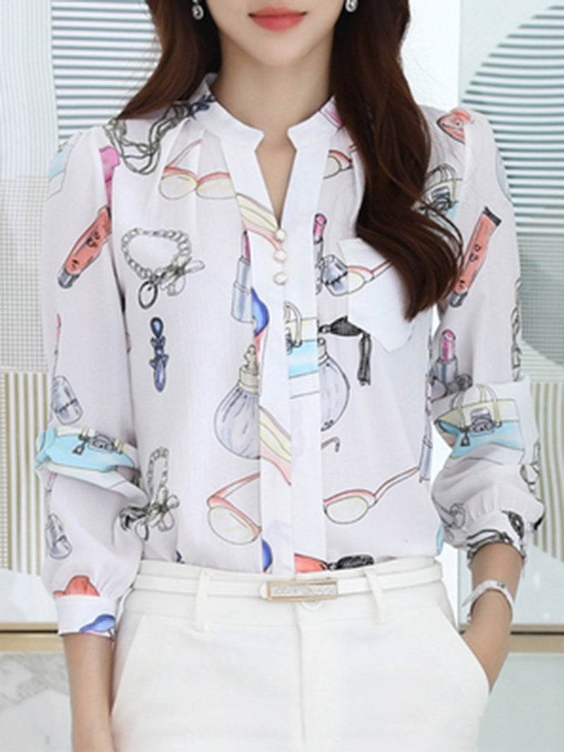 Stand Collar Chiffon Printed Long Sleeve Plus Size Blouse