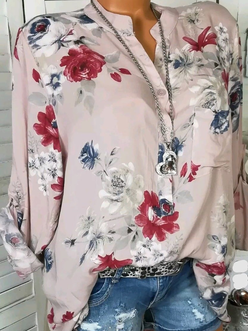 White Casual Floral Printed Long Sleeve Plus Size Blouses