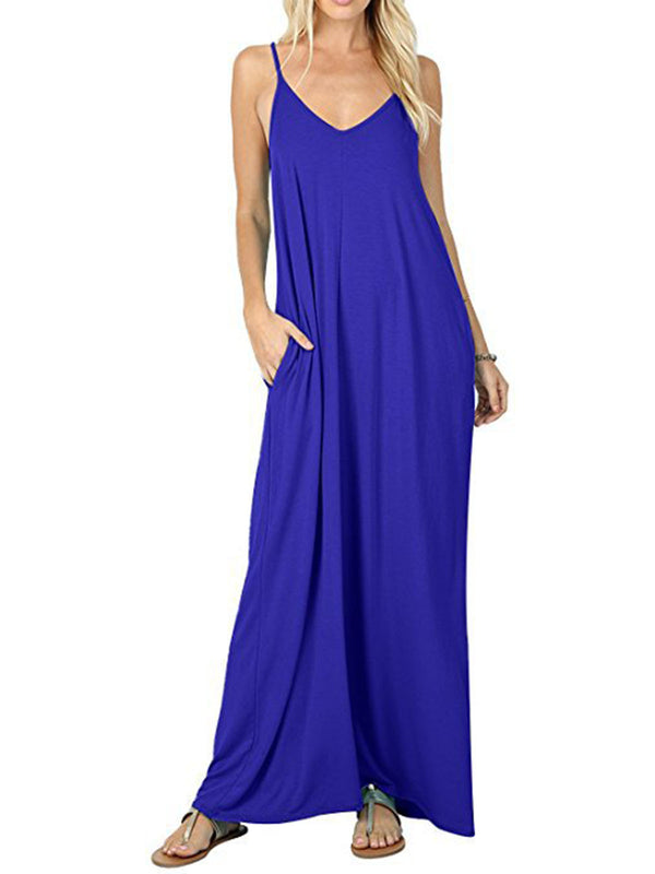 Spaghetti A-line V Neck Solid Maxi Holiday Dress
