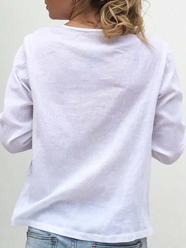 White Long Sleeve Casual Solid V-Neck Blouse