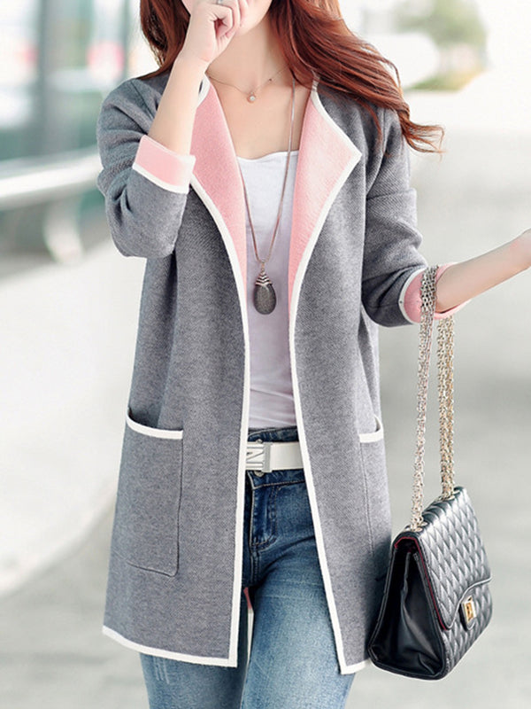 Shawl Collar Long Sleeve Pockets Plus Size Coat