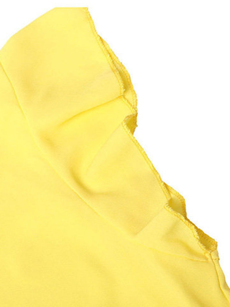 Yellow Solid Chiffon Frill Sleeve V-Neck Blouses & Shirt