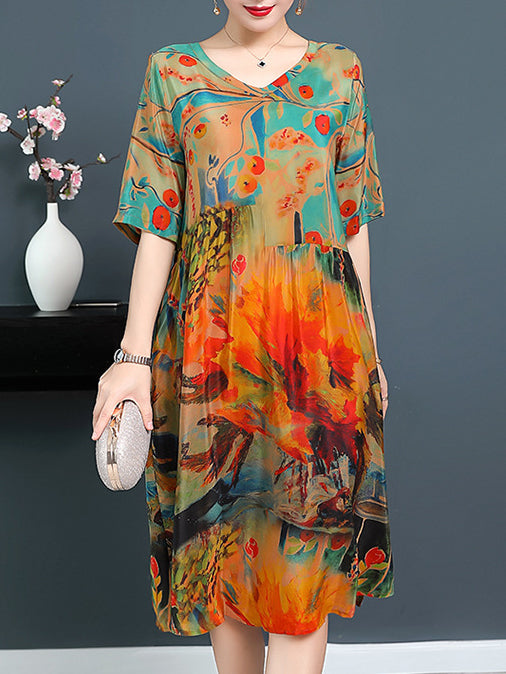 Floral Printed V Neck Holiday Shift Dress