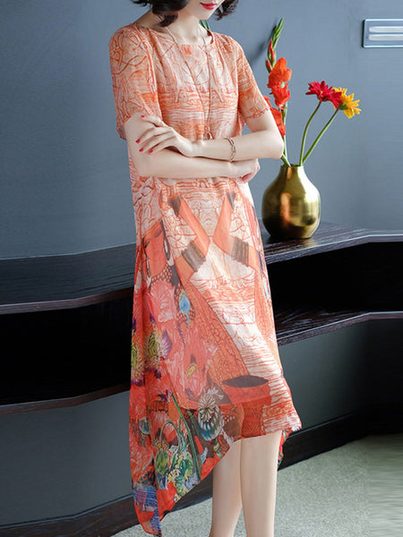 A-line Floral Printed Holiday Short Sleeve Midi Dress