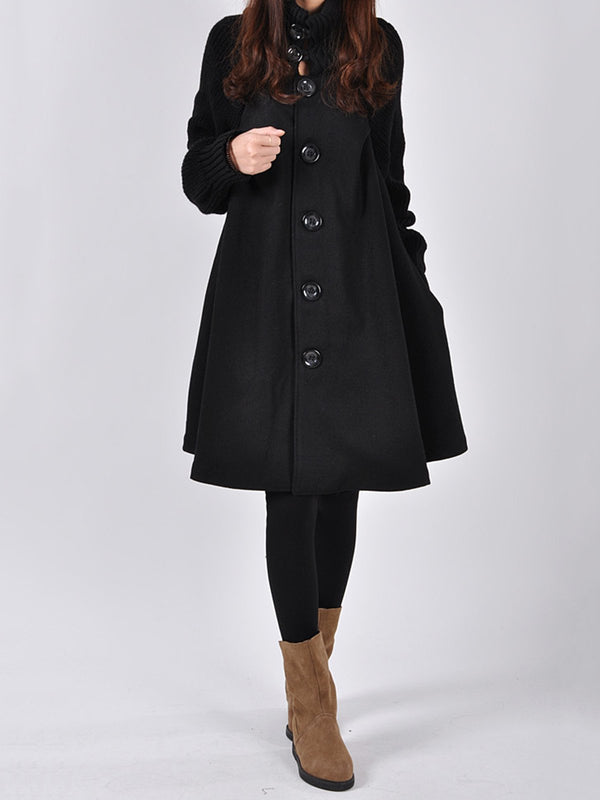 Buttoned Paneled Turtle Neck Casual Coat