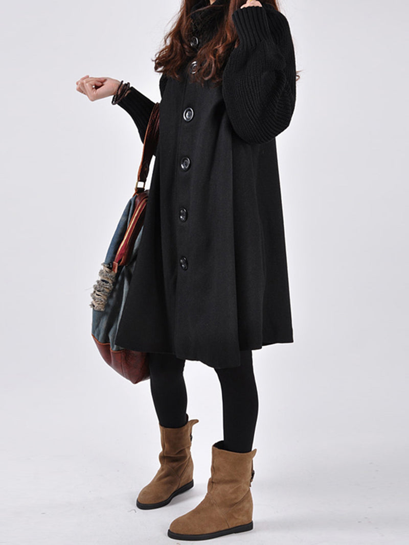 Plus Size Knitted Buttoned Turtleneck Solid A-line Pea Coat
