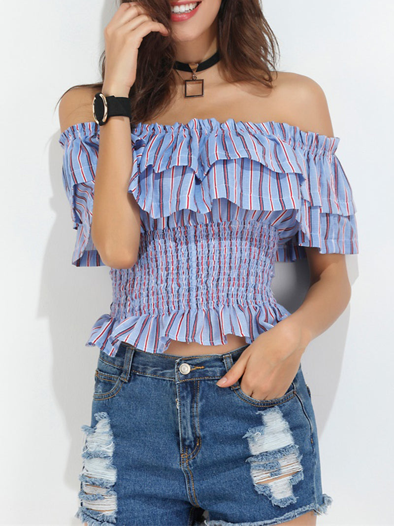 Off Shoulder Striped Ruffled Casual Blouses