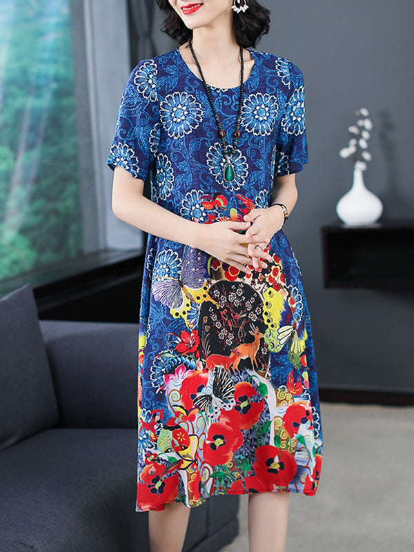 Casual Floral Polyester Printed Short Sleeve Plus Size Dress