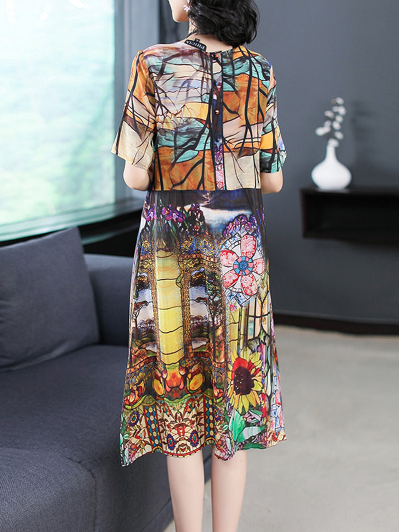 Multicolor Shift Short Sleeve Chiffon Abstract Plus Size Dress