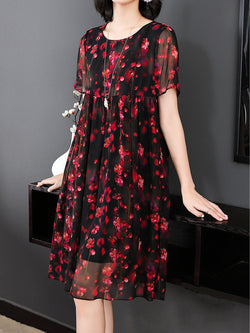 Black Chiffon Casual Dress