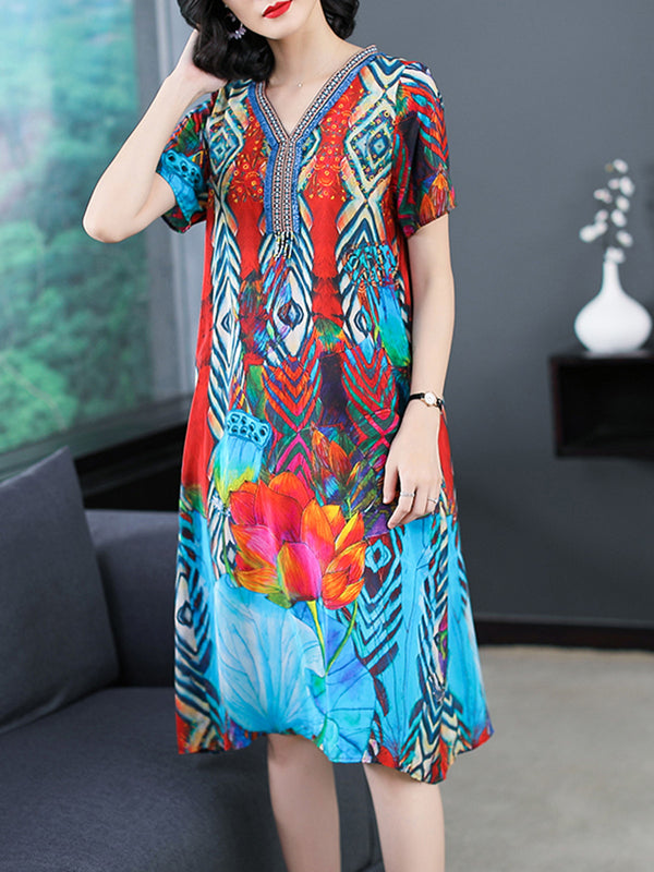 Sky Blue Casual V-Neck Plus Size Dress