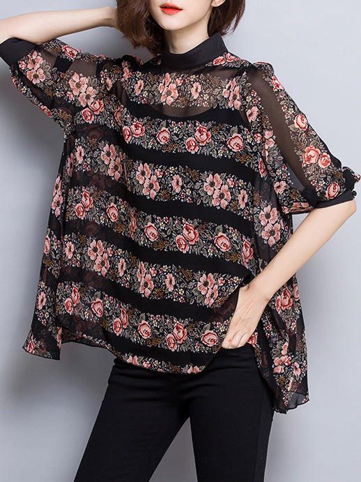 Printed Floral Casual Chiffon Bell Sleeve Top