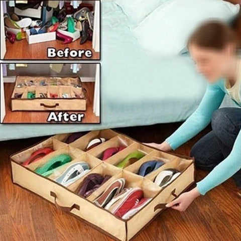 12 Pairs Shoes Organizer Box Under Bed Closet Non-woven Fabric Storage Holder